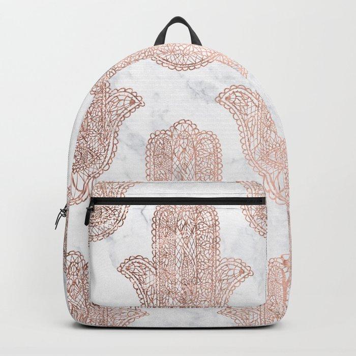 Modern rose gold floral lace hamsa hands white marble illustration pattern Backpack