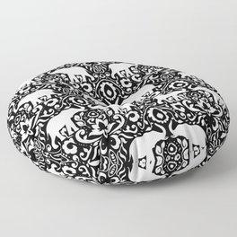 Elephant Damask Black and White Floor Pillow