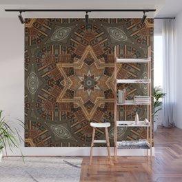 geometric wood hexagram Wall Mural