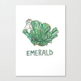 Emerald Gemstone / May Birthstone Watercolor Painting / Illustration Canvas Print