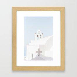 Santorini White Church Framed Art Print