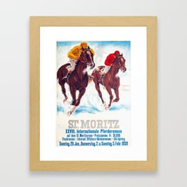 Horse Race,Switzerland Vintage Ski Travel Poster Framed Art Print