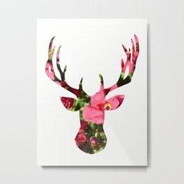 Stag Pink Flowers Metal Print