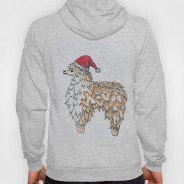 Cute Christmas Fluffy Llama in a Santa Claus Hat Hoody