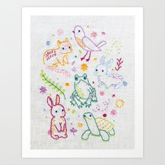 Picnic Pals minis embroidery Art Print