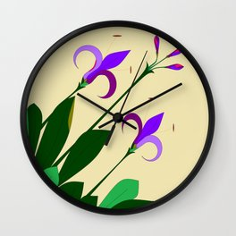 Lavenders and Violet Colored Lilies Wall Clock