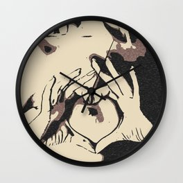 You heart me, naughty girl teasing, sexy nude woman, kinky hands gesture, dirty black and white art Wall Clock