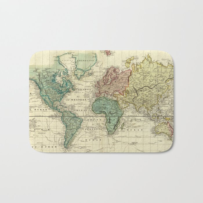 Vintage Map of The World (1823) Bath Mat
