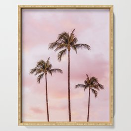 Palm Tree Photography | Landscape | Sunset Unicorn Clouds | Blush Millennial Pink Serving Tray