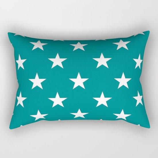 Stars (White/Teal) Rectangular Pillow
