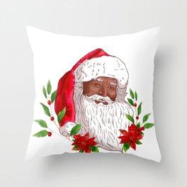 Christmas Santa Claus and Poinsettias Throw Pillow