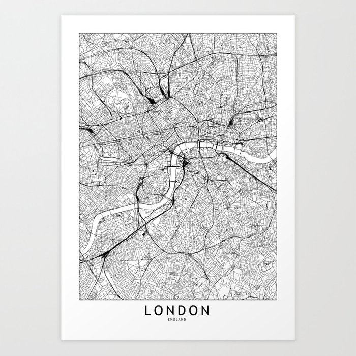 London White Map Kunstdrucke