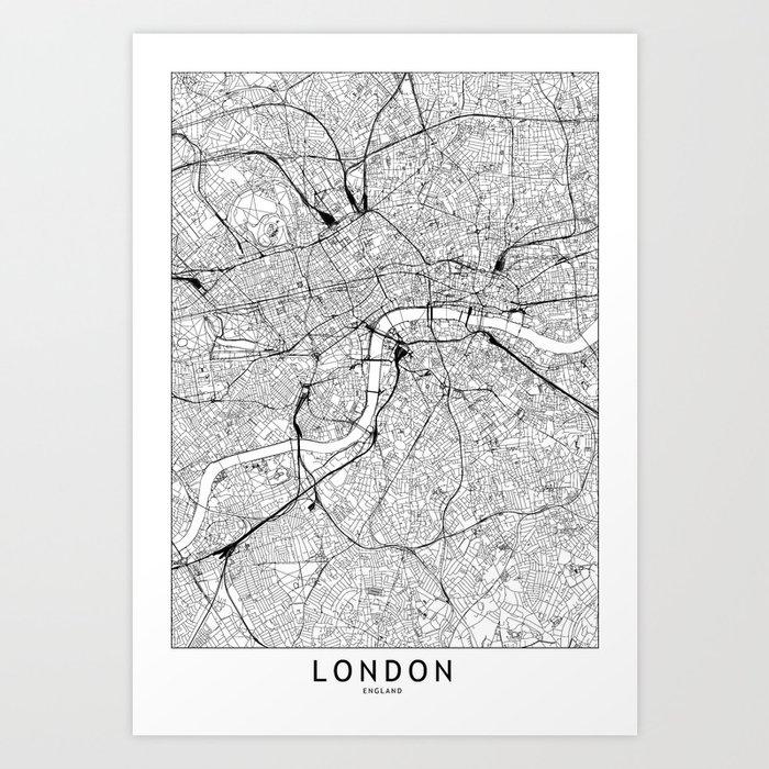 London White Map Kunstdrucke