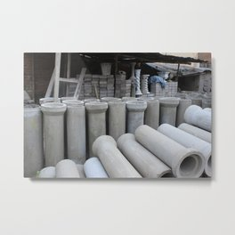 Concrete Pipe Factory Metal Print