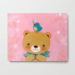 Baby bear with little bird Metal Print