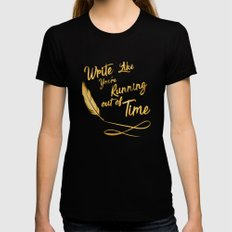 like your running out of time SMALL Black Womens Fitted Tee