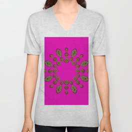 Sweet hearts in  decorative metal tinsel Unisex V-Neck