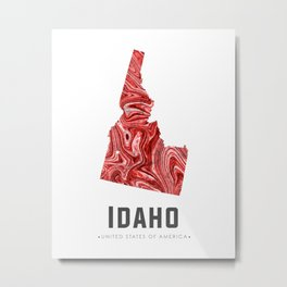 Idaho - State Map Art - Abstract Map - Red Metal Print