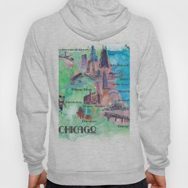 Chicago Favorite Map with touristic Top Ten Highlights in Colorful Retro Style Hoody