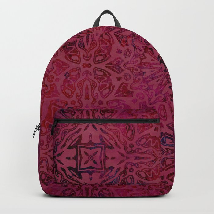 Retro Red textured oriental pattern Backpack