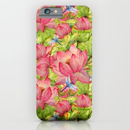 Floral Lotus Flowers Pattern with Dragonfly iPhone Case