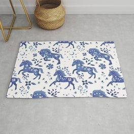 Delft Blue Horses Rug