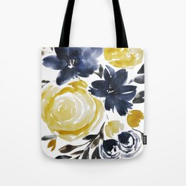 Navy and Yellow Loose Watercolor Floral Bouquet Tote Bag