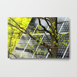 Four Seasons Photosynthesis - Spring. Blooming Oak Tree And A Solar Power Panel Metal Print