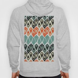 Abstract geometric hand painted red black teal diamond shapes Hoody