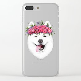 Samoyed with flowers Clear iPhone Case