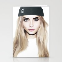 cara delevingne Stationery Cards featuring Cara Delevingne by HOLDBACK