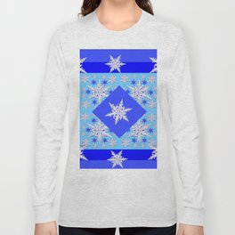 DECORATIVE BABY BLUE SNOW CRYSTALS BLUE WINTER ART Long Sleeve T-shirt
