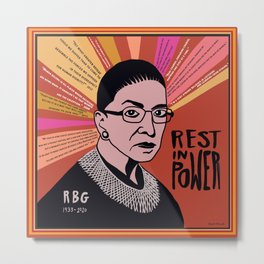 RBG Rest in Power Metal Print