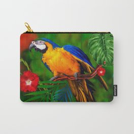 JUNGLE  FOLIAGE BLUE-GOLD MACAW PARROT Carry-All Pouch