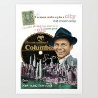 frank sinatra Art Prints featuring Frank Sinatra - New York by Dots Studio
