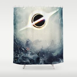 Interstellar Inspired Fictional Sci-Fi Teaser Movie Poster Shower Curtain