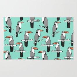 Toucan bird pattern minimal print design by andrea lauren toucans tropical birds mint Rug