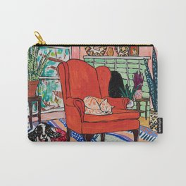 Red Armchair in Pink Interior with Houseplants, Ginger Cat, and Spaniel Interior Painting Carry-All Pouch