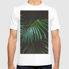 Tropical Palm Leaf MEDIUM Mens Fitted Tee White