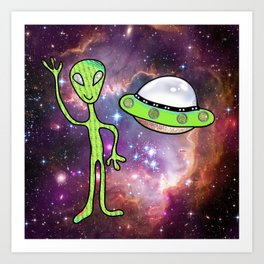 Space Alien and UFO Galaxy Art Print