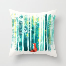 Fox in quiet forest Throw Pillow