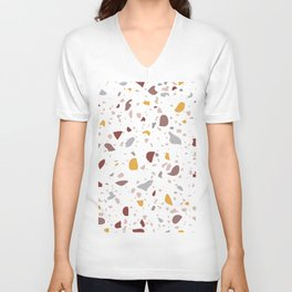 Terrazzo Pattern Design with Yellow Details  Unisex V-Neck