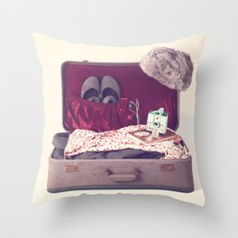 Vintage Journey Suitcase (Hers) (Retro and Vintage Still Life Photography)  Throw Pillow