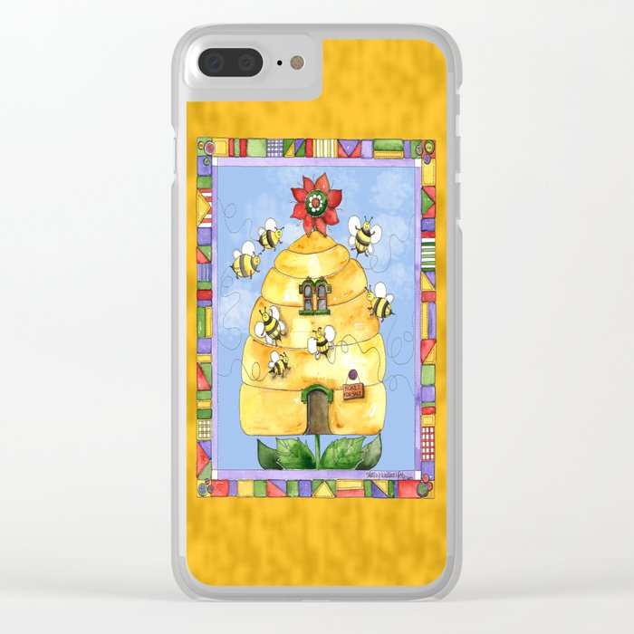 Busy Bees with Border Clear iPhone Case