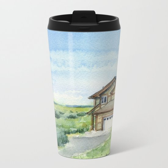 Sky and Grass Landscape Watercolor Metal Travel Mug