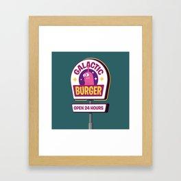Galactic Burger Sign Framed Art Print