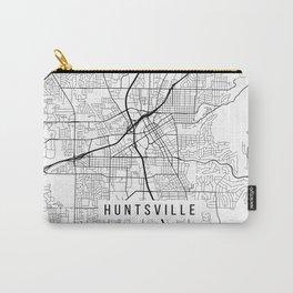 Huntsville Map, Alabama USA - Black & White Portrait Carry-All Pouch