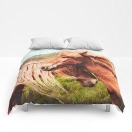 Horses couple watercolor painting #3 Comforters