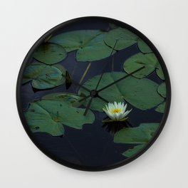 White Lilly Pads  Wall Clock