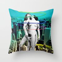 sex and the city Throw Pillows featuring Sex in the City by Collage Calamity